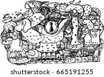 hand draw of line art girl and... | Shutterstock .eps vector #665191255