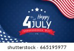 4th of july with usa flag ... | Shutterstock .eps vector #665195977