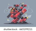 military exoskeleton for soldier | Shutterstock .eps vector #665199211