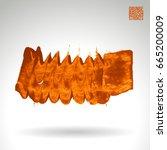 orange brush stroke and texture.... | Shutterstock .eps vector #665200009