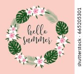 floral wreath. collection with... | Shutterstock .eps vector #665205301