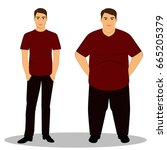thin and fat. obesity. from... | Shutterstock . vector #665205379
