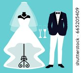 wedding card with the clothes... | Shutterstock . vector #665205409