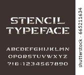 stencil alphabet. retro...   Shutterstock .eps vector #665211634