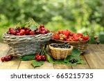 summer gifts  sweet cherry ...   Shutterstock . vector #665215735