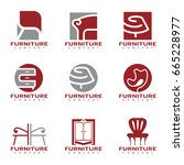 red and gray furniture and... | Shutterstock .eps vector #665228977