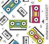 retro cassette and radio... | Shutterstock .eps vector #665231077