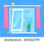installation of double glazed... | Shutterstock .eps vector #665232799