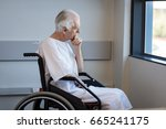 thoughtful senior man sitting... | Shutterstock . vector #665241175