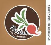 radish natural bagde  logo ... | Shutterstock .eps vector #665243551