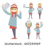 cute girl geek hipster... | Shutterstock .eps vector #665244469