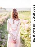 pretty young tender woman... | Shutterstock . vector #665259931