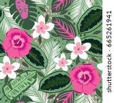 beautiful seamless floral... | Shutterstock .eps vector #665261941