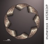 3d round brown frame with... | Shutterstock .eps vector #665282269