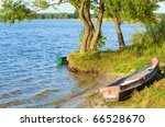 Old Wooden Fishing Boat Near...