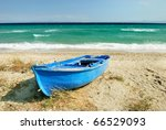 Old Blue Greek Fisherman Boat