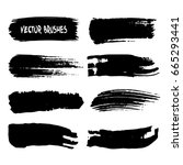 set of vector art brushes. hand ... | Shutterstock .eps vector #665293441