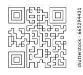 qr code black icon . | Shutterstock .eps vector #665294431