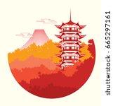 japan tourism poster brochure... | Shutterstock .eps vector #665297161