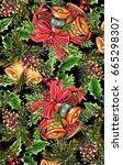 christmas print cute vintage...   Shutterstock . vector #665298307