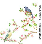 greeting card with lovely birds ...   Shutterstock . vector #665301931