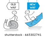 old habits versus new way... | Shutterstock .eps vector #665302741