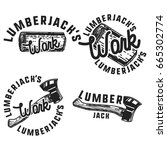vintage lumberjack emblems | Shutterstock .eps vector #665302774