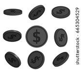 flat cartoon coins with dollar...   Shutterstock .eps vector #665304529