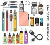 vape device vector set... | Shutterstock .eps vector #665307955