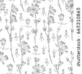 seamless vector floral pattern  ... | Shutterstock .eps vector #665310865