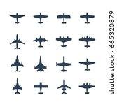 planes vector icon set | Shutterstock .eps vector #665320879