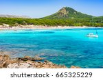 Small photo of Beautiful beach of Cala Agulla in Cala Ratjada, seascape scenery, Majorca island, Spain.