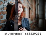 red haired punk girl wear on... | Shutterstock . vector #665329291