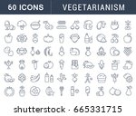 set of line icons in flat... | Shutterstock . vector #665331715