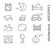 sleep icons  thin monochrome... | Shutterstock .eps vector #665335411
