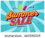summer sale discount banner... | Shutterstock .eps vector #665340229