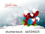cute gift box in the snow  ... | Shutterstock .eps vector #66534025