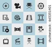 set of 16 editable movie icons. ... | Shutterstock .eps vector #665351401