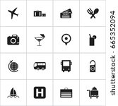 set of 16 editable trip icons.... | Shutterstock .eps vector #665352094