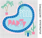 pool party invitation card... | Shutterstock .eps vector #665359441