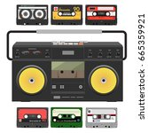retro record player with stereo ... | Shutterstock .eps vector #665359921