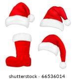 Set Of  Red Santa Hats And Boo...