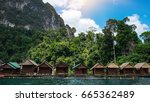 bamboo huts on lake cheo lan in ... | Shutterstock . vector #665362489