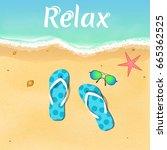 slates  starfish and sunglasses ...   Shutterstock .eps vector #665362525