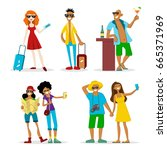 set of colorful funny cartoon... | Shutterstock .eps vector #665371969