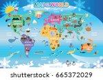 map world animal  | Shutterstock .eps vector #665372029