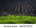 black soil plowed field. earth... | Shutterstock . vector #665373931