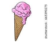 dripping strawberry ice cream... | Shutterstock .eps vector #665390275