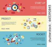 digital vector blue red startup ... | Shutterstock .eps vector #665390845