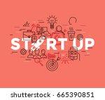 digital vector red startup team ...   Shutterstock .eps vector #665390851